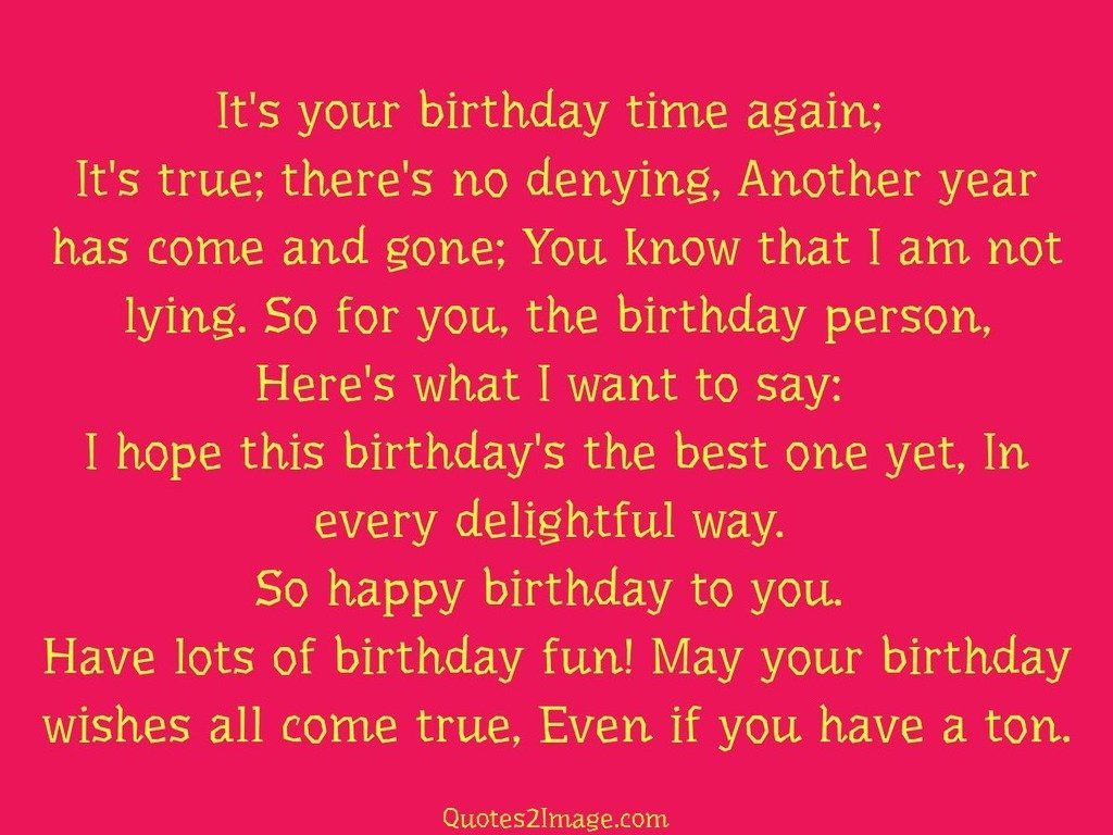 it s your birthday time again birthday quotes image