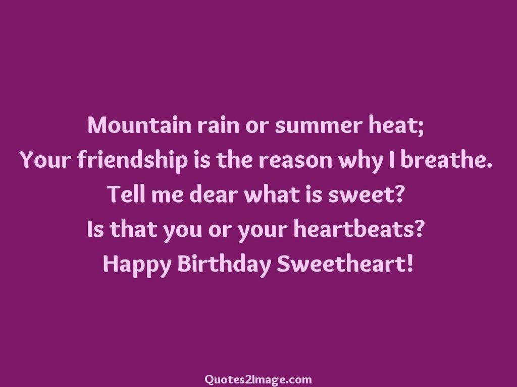 Mountain rain or summer