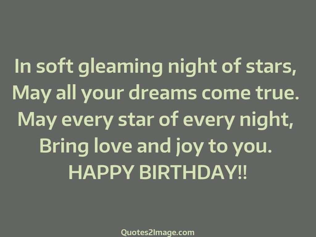 Soft Quotes In Soft Gleaming Night  Birthday  Quotes 2 Image