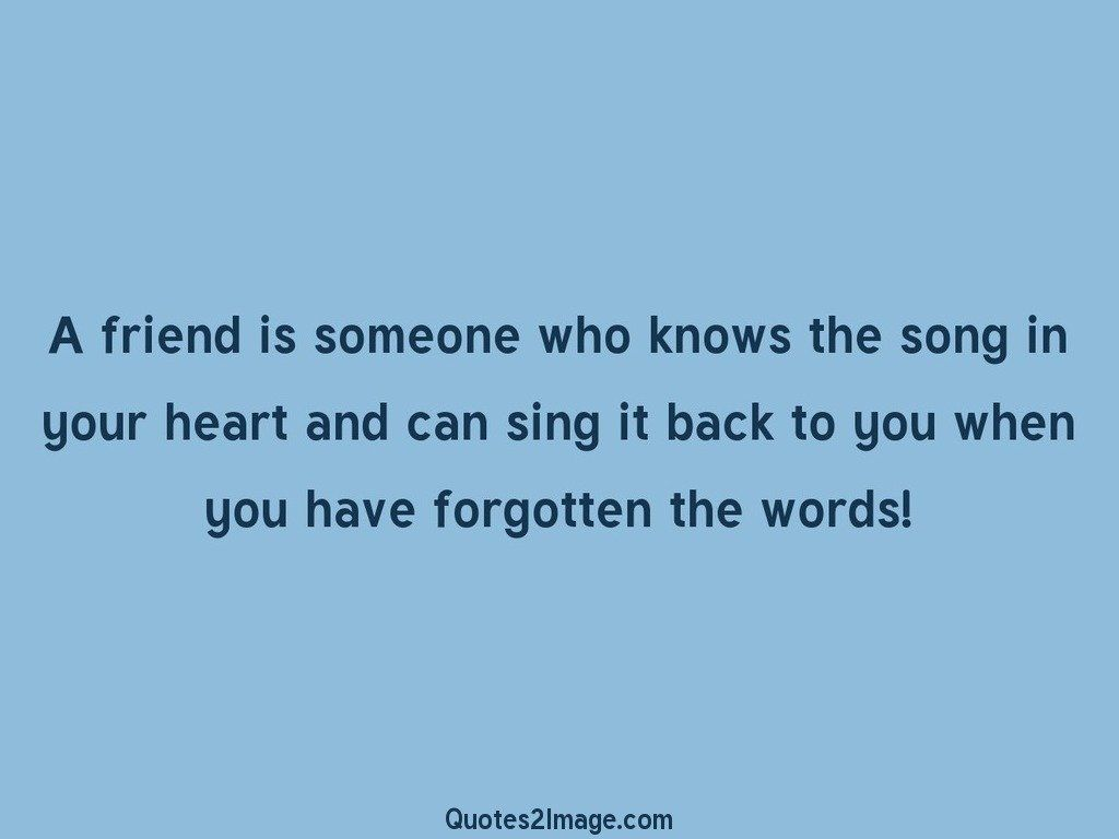 Song Quotes About Friendship Mesmerizing A Friend Is Someone Who Knows The Song  Friendship  Quotes 2 Image