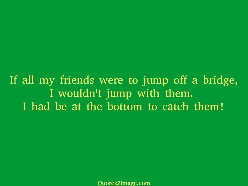 If all my friends were to jump off a bridge
