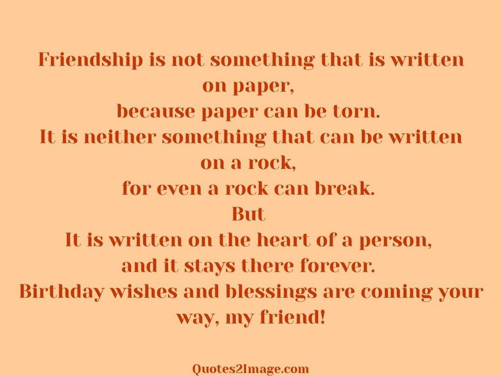 Friendship is not something written on paper