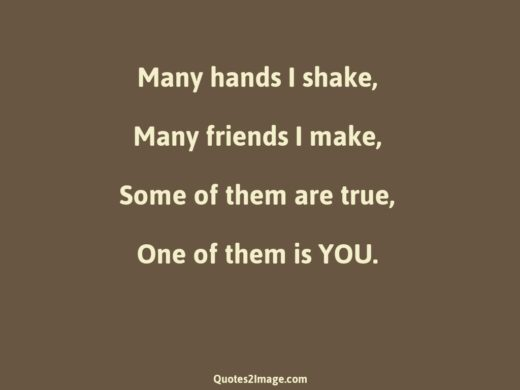 Many hands I shake