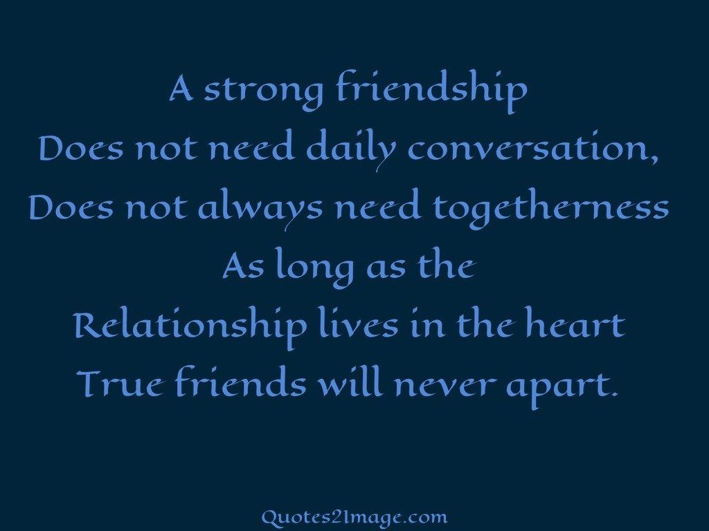 Quotes About Strong Relationship True Friends Will Never Apart  Friendship  Quotes 2 Image