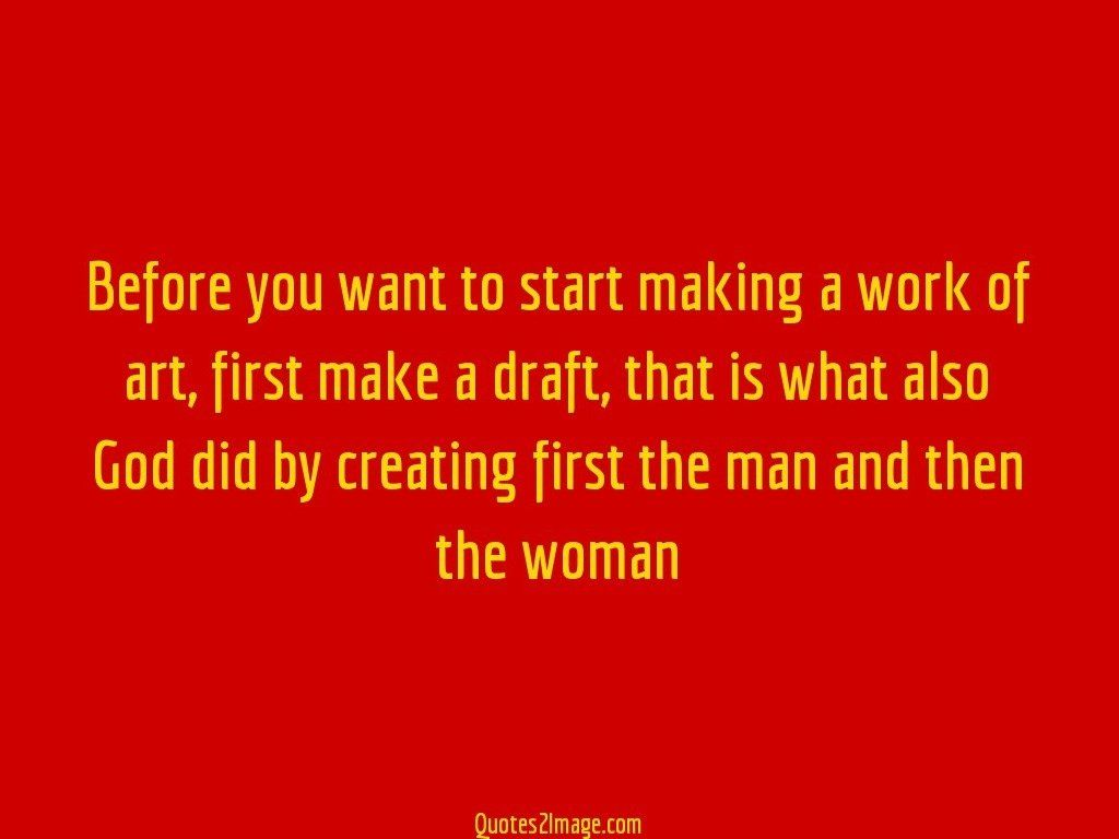 Before you want to start making