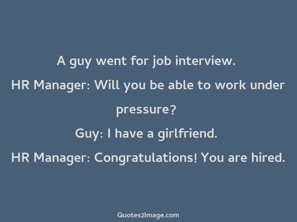 A guy went for job