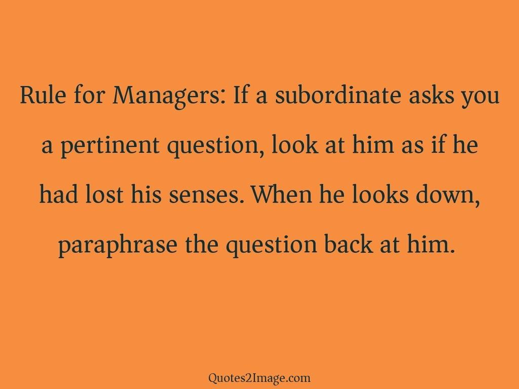 Rule for Managers