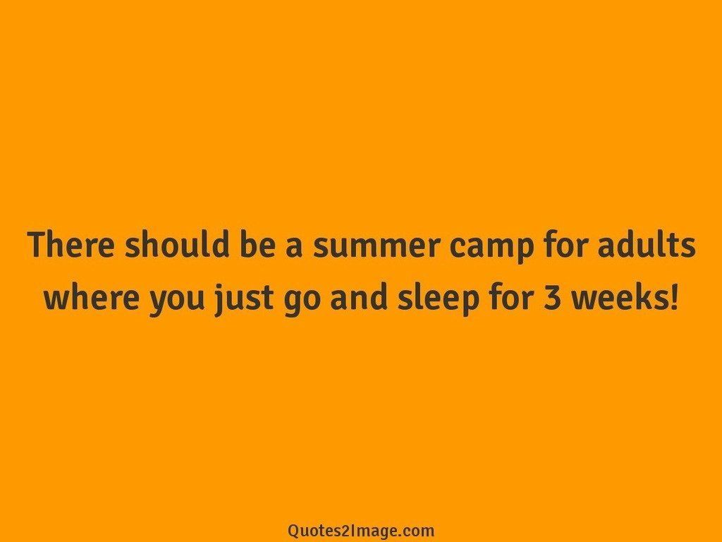 There should be a summer camp for adults