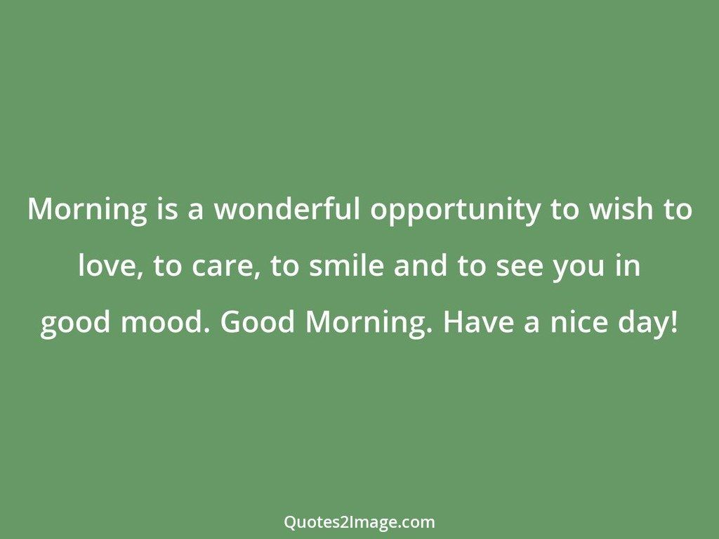 Morning is a wonderful opportunity