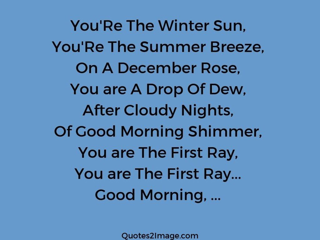 You'Re The Winter Sun