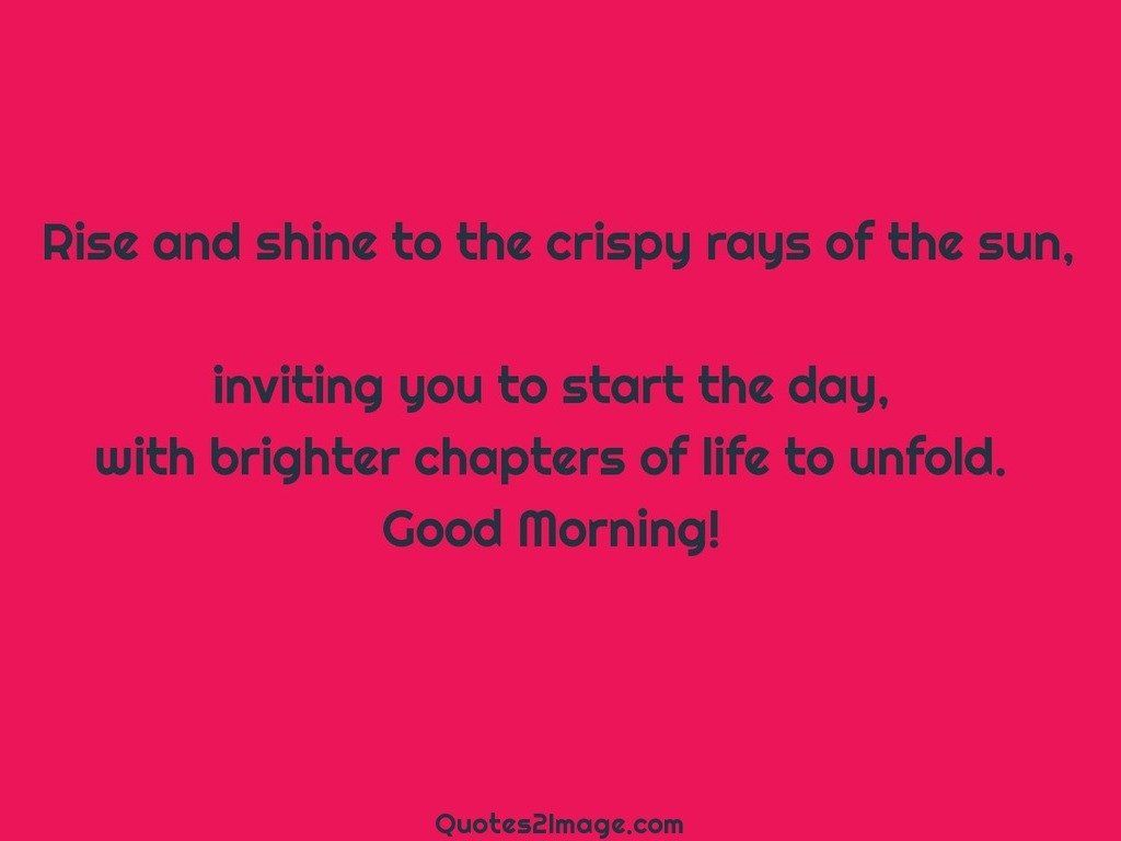 Rise and shine to the crispy