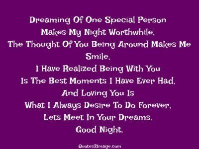 Good Night Quote Dreaming Special Person Quotes 2 Image