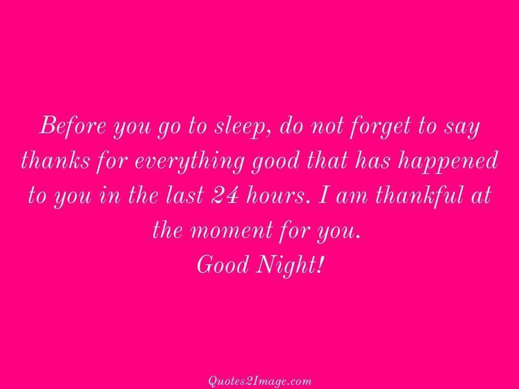Before you go to sleep