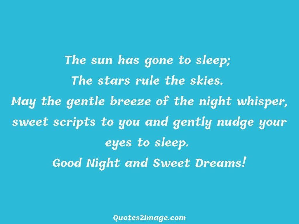 The sun has gone to sleep