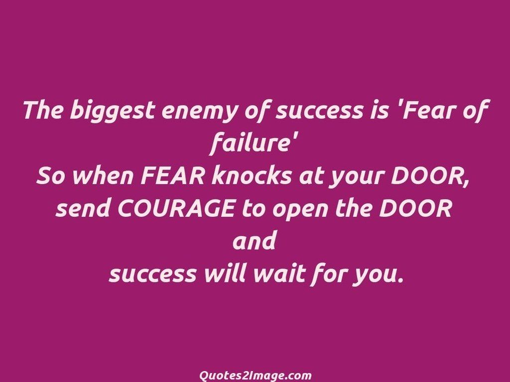 The biggest enemy of success