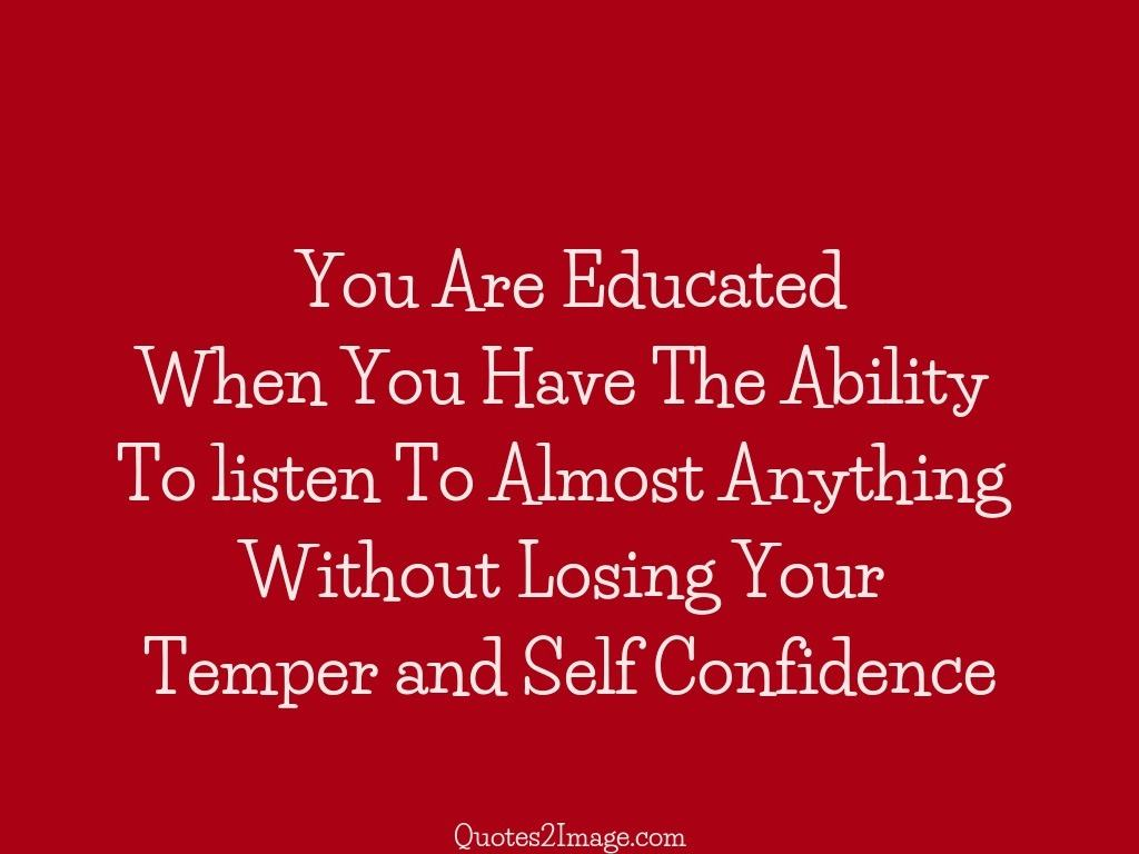Temper and Self Confidence