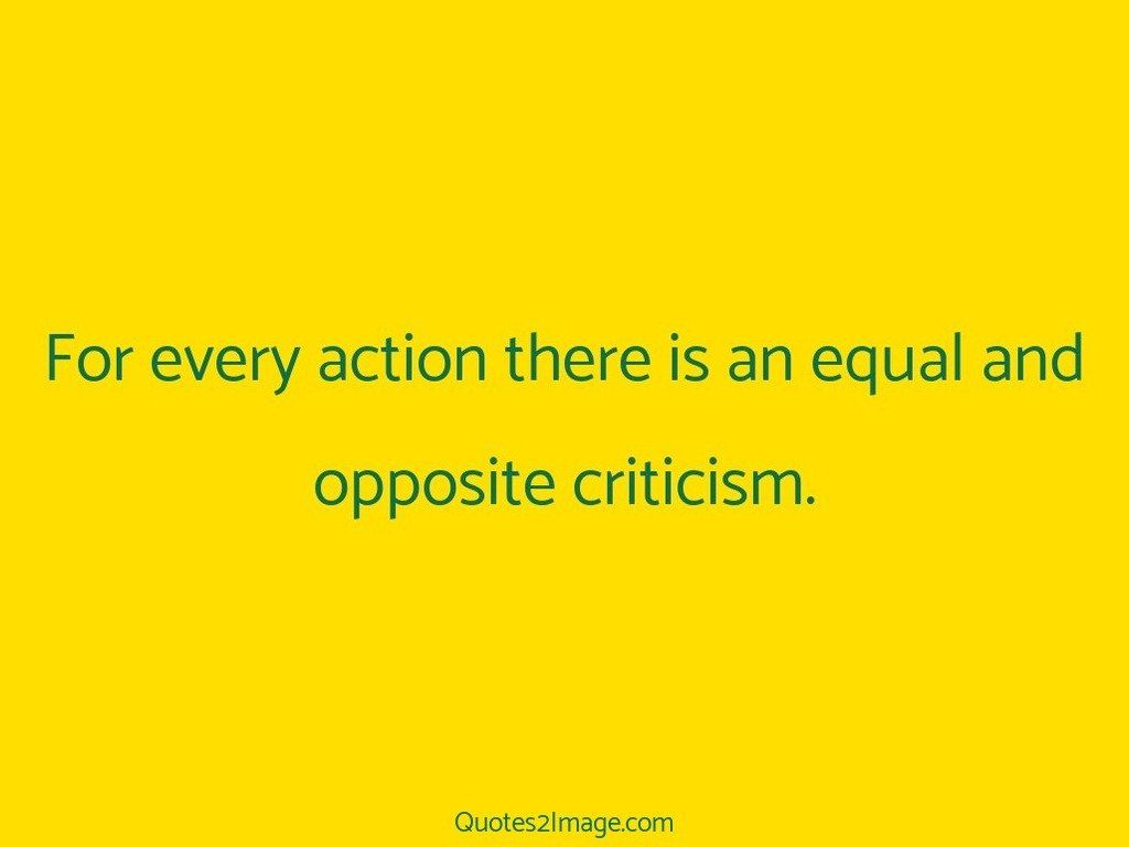 For every action there is an equal