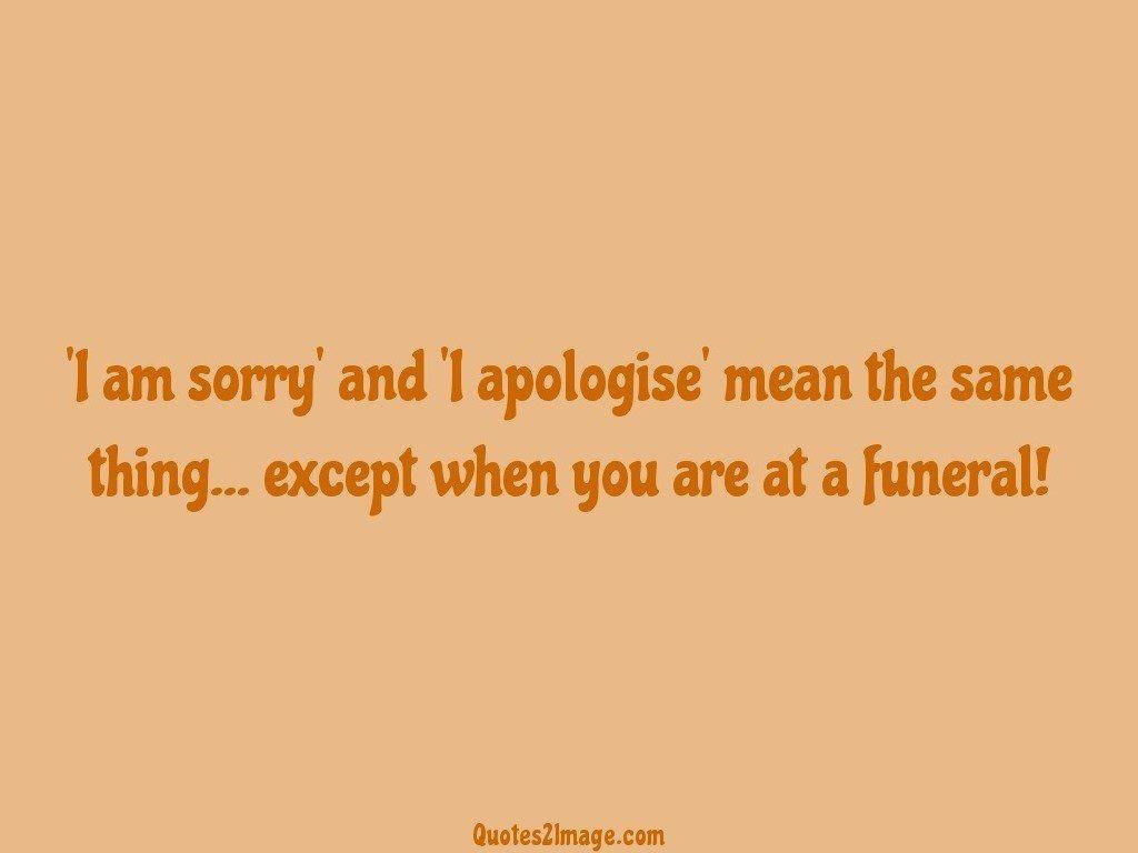 I am sorry' and 'I apologise' mean