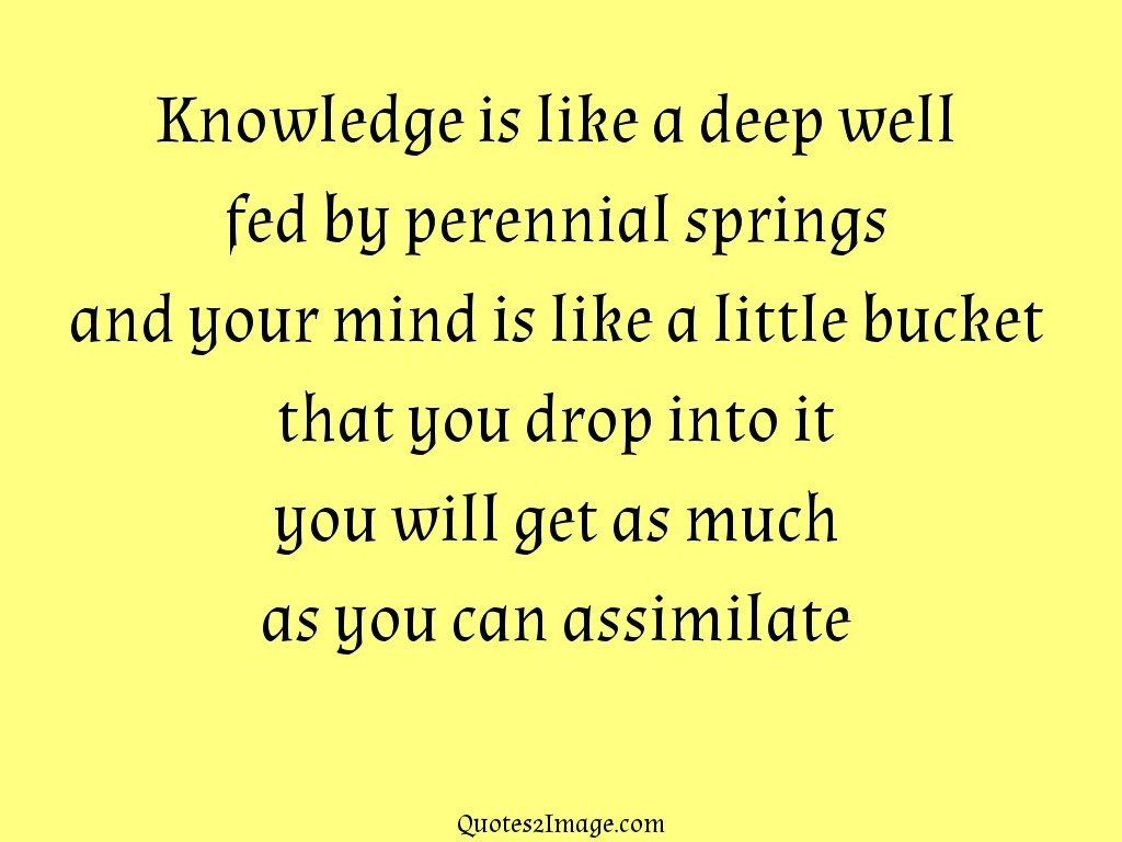 Deep Life Quotes Knowledge Is Like A Deep Well  Life  Quotes 2 Image