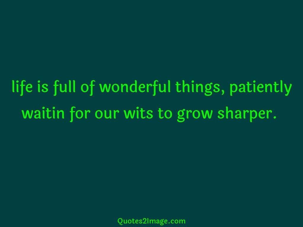 Life is full of wonderful