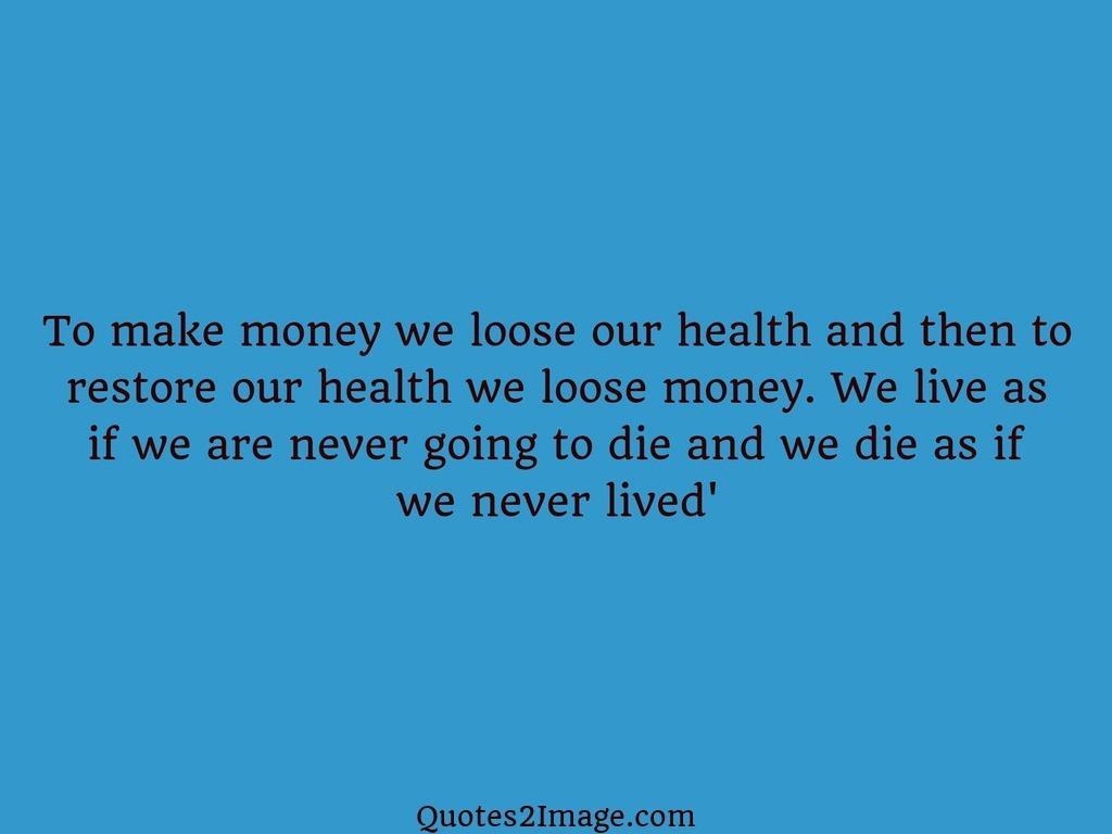 To make money we loose