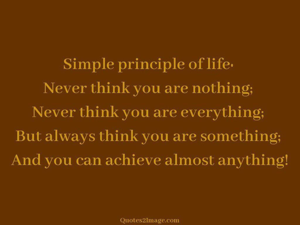 Simple principle of life