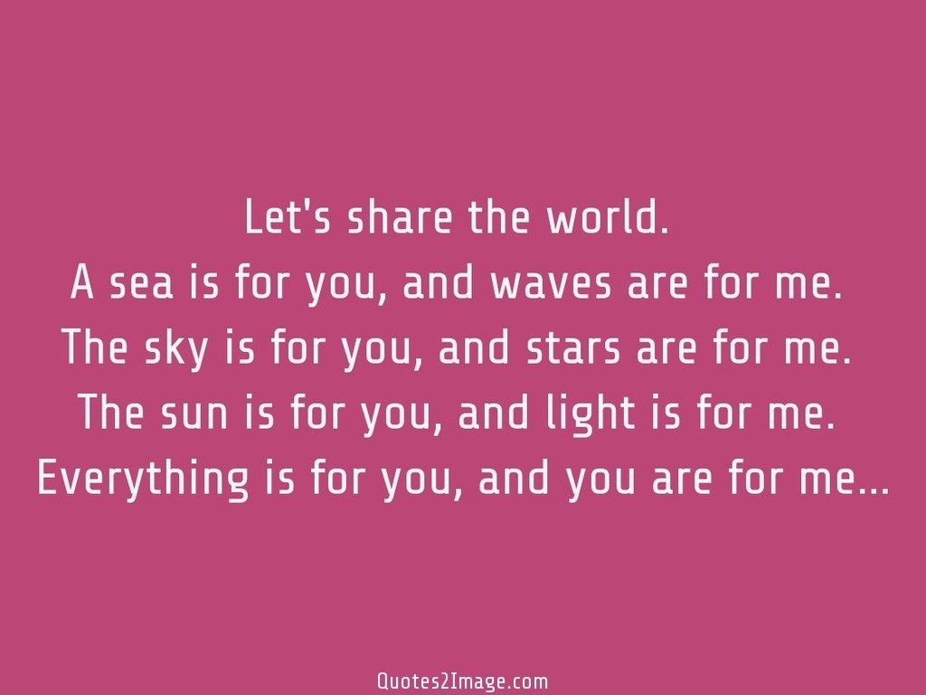 Let's share the world