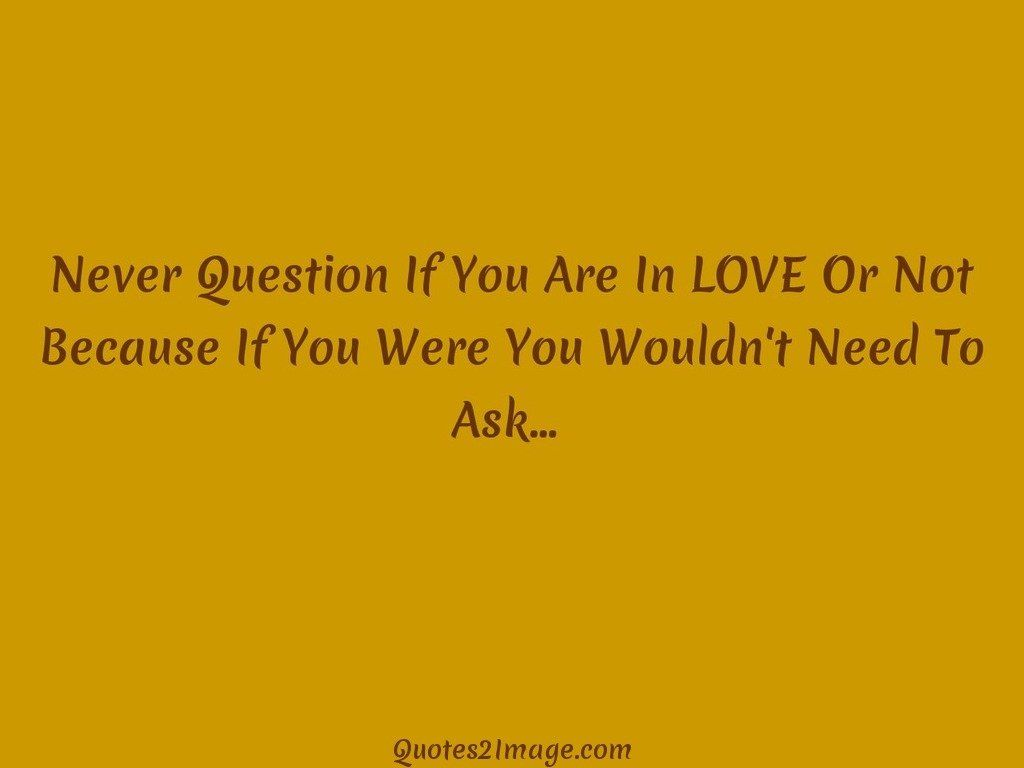 Never Question If You Are In LOVE