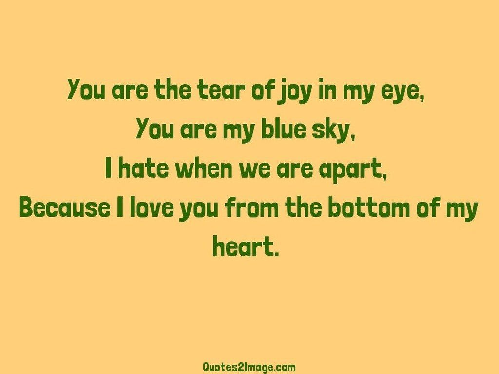 You are the tear of joy in my eye
