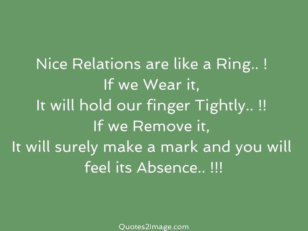 Quotes Nice Nice Relations Are Like A Ring  Relationship  Quotes 2 Image