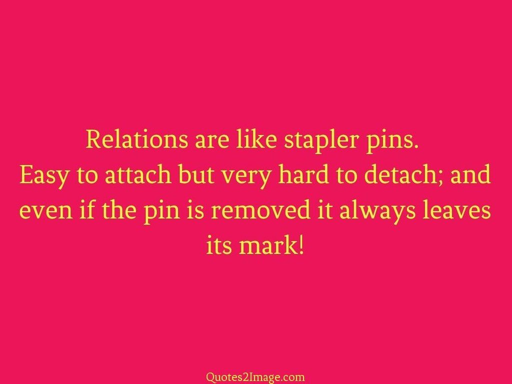 Relations are like stapler pins