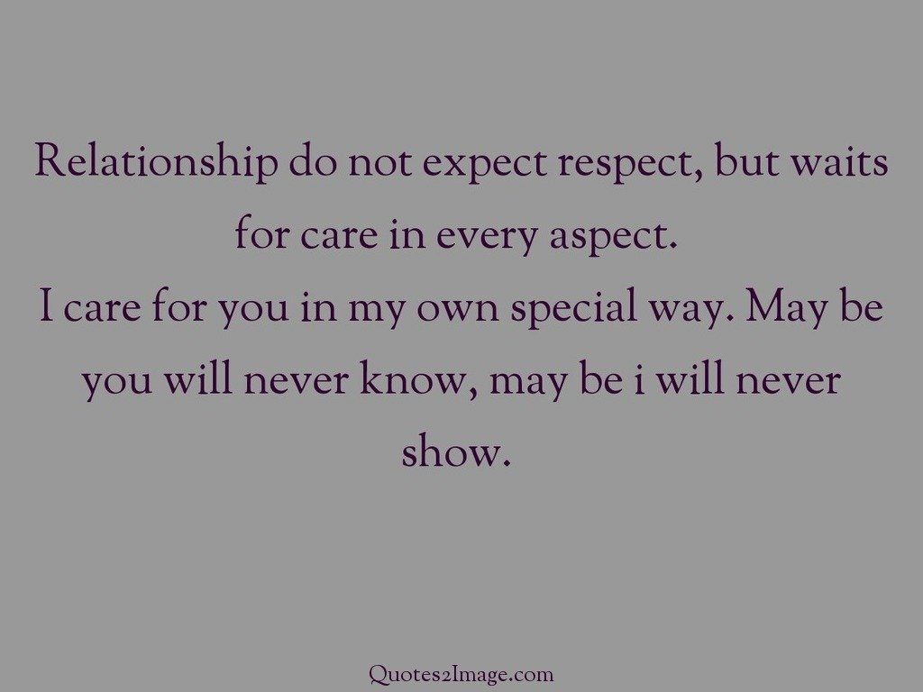 Relationship do not expect respect