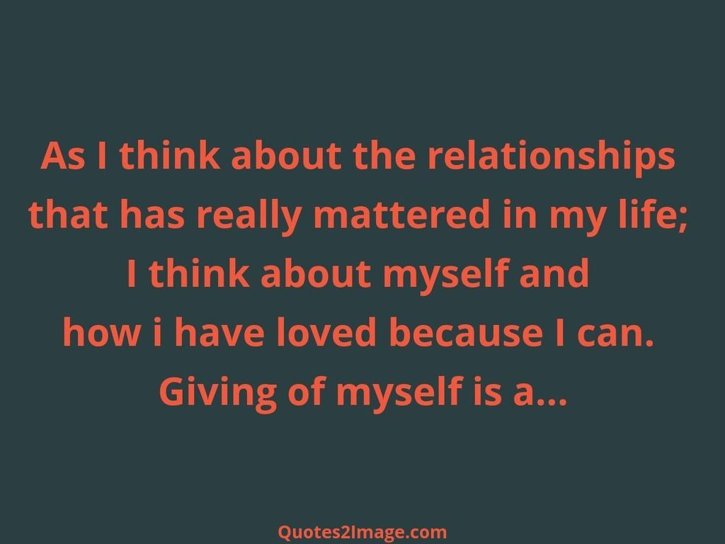 As I think about the relationships
