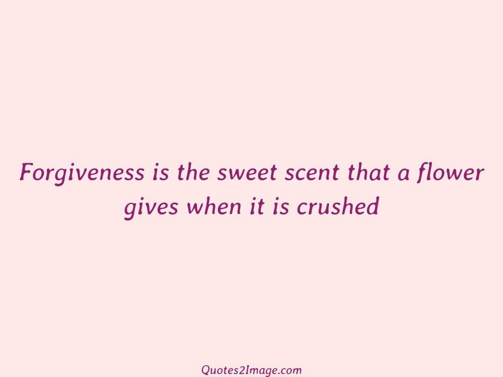 Forgiveness is the sweet scent